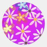 Purple Daisies Flower Sticker
