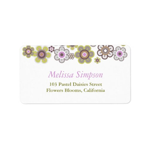 Purple Daisies Flowers Blooms Baby Address Labels