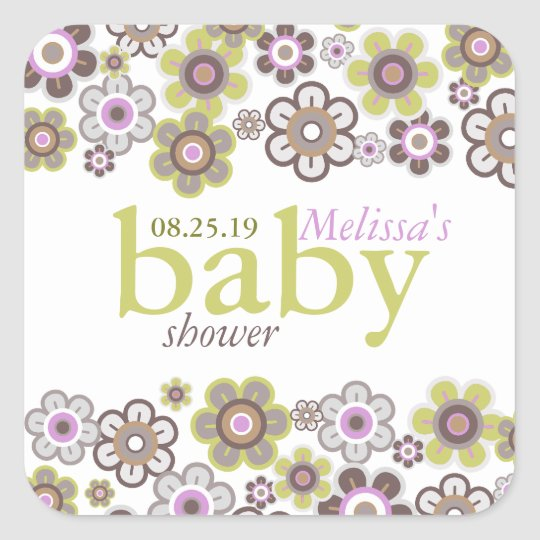 Purple Daisies Flowers Blooms Baby Shower Gift Tag Square Sticker