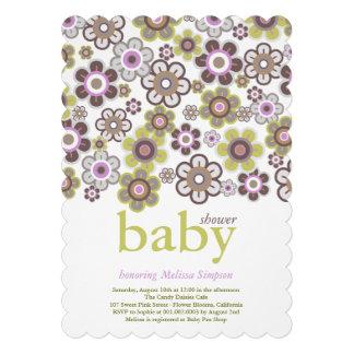 Purple Daisies Flowers Blooms Baby Shower Invite Custom Invite