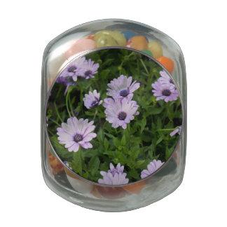 Purple Daisies Glass Candy Jar