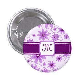 Purple Daisies Monogram Pinback Button