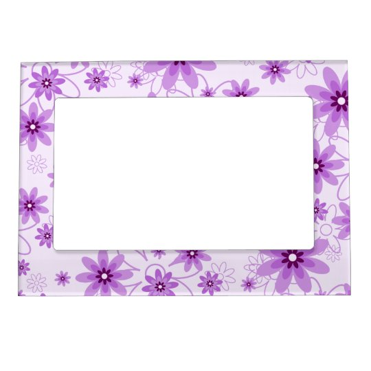 Purple Daisies on White Magnetic Frame