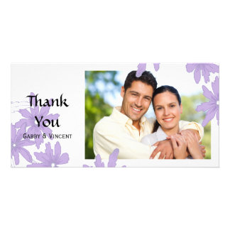 Purple Daisies on White Thank You Card