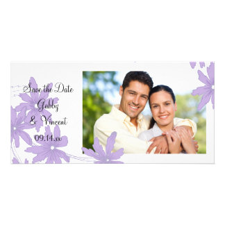Purple Daisies on White Wedding Save the Date Card