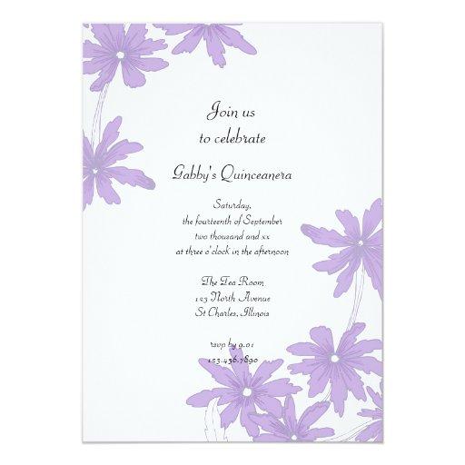 Purple Daisies Quinceanera Party Invitation