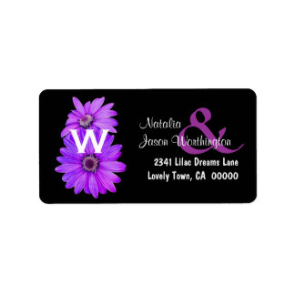 Purple Daisies Wedding Address Label B461