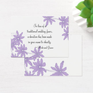 Purple Daisies Wedding Charity Favor Card
