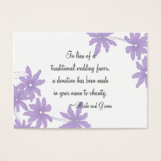 Purple Daisies Wedding Charity Favor Card at Zazzle