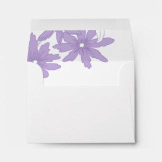 Purple Daisies Wedding RSVP Response Card Envelope