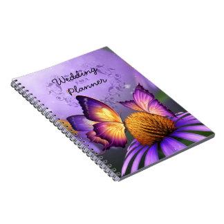 Purple Daisy and Butterflies Wedding Planner Spiral Notebook