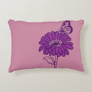 Purple daisy and butterfly pillow