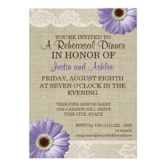 Purple Daisy and Lace Rehearsal Dinner Party Personalized Announcement
