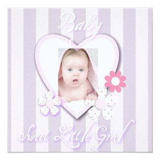 Purple Daisy Baby Girl Photo Birth Announcement