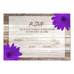 Purple Daisy Barn Wood Wedding RSVP Response Card