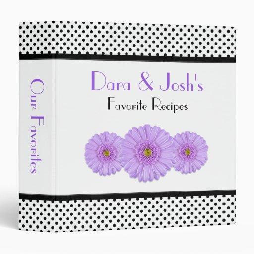 Purple Daisy Black White Polka Dot Recipe Binder