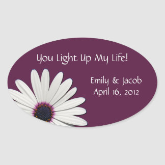Purple Daisy Candle Jar Wedding Favor Tags Oval Sticker