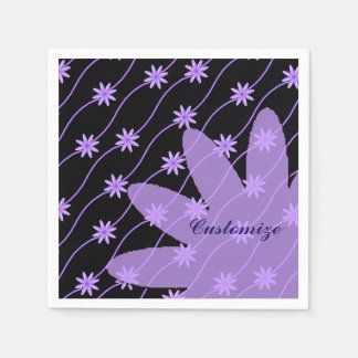 Purple Daisy Chain Floral Pattern Napkins