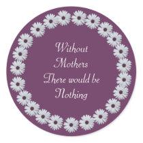 Purple Daisy Circle Classic Round Sticker