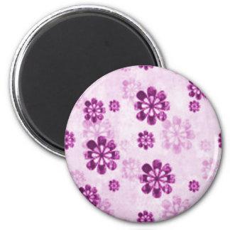 Purple Daisy Floral Grunge Pattern 2 Inch Round Magnet