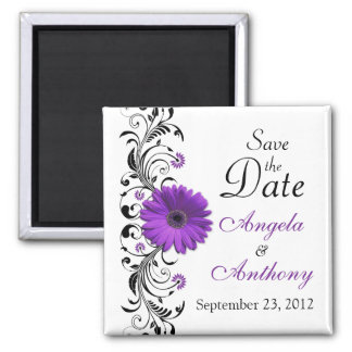 Purple Daisy Floral Wedding Save the Date Magnet Refrigerator Magnet