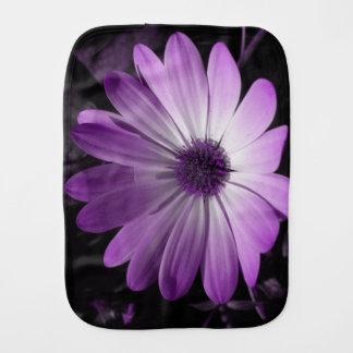 Purple Daisy Flower Burp Cloth