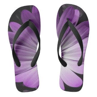 Purple Daisy Flower Flip Flops
