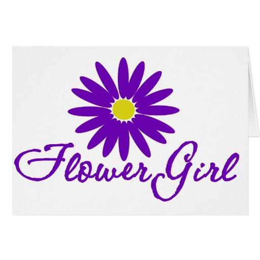 Purple Daisy Flower Girl Greeting Card