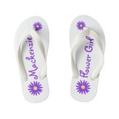 Purple Daisy Flower Girl Kid's Flip Flops at Zazzle