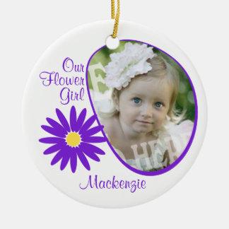 Purple Daisy Flower Girl Photo Ceramic Ornament