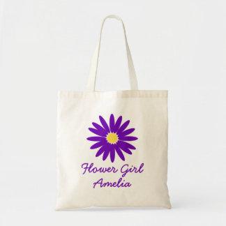 Purple Daisy Flower Girl Tote Bag