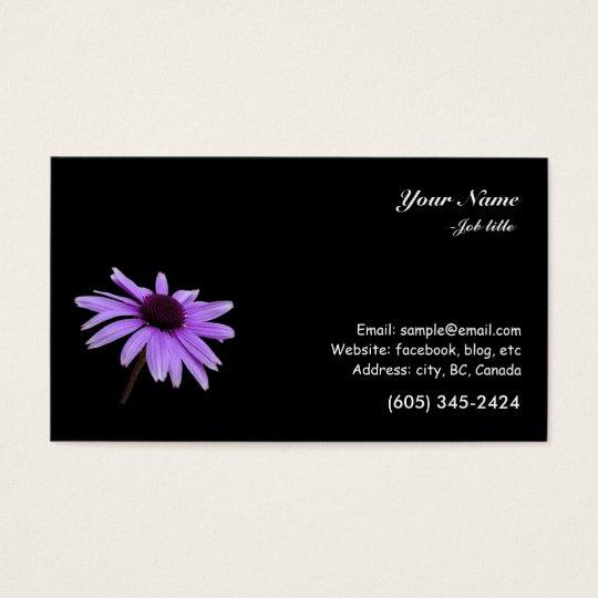 Purple daisy flower in black background business card zazzle for Business card background black