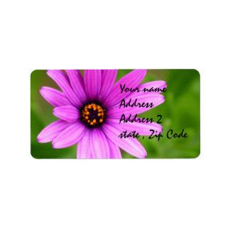 Purple Daisy flower Label