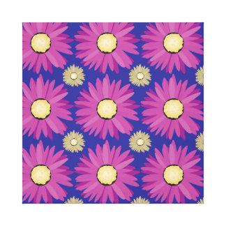 Purple Daisy Flower on Blue Floral Pattern Canvas Print