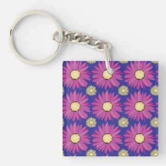 Purple Daisy Flower on Blue Floral Pattern Keychain