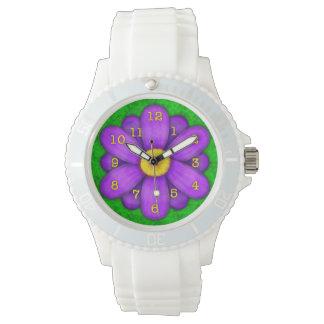 Purple Daisy Flower on Green Beautiful Watch