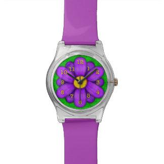 Purple Daisy Flower on Green Beautiful Wrist Watch