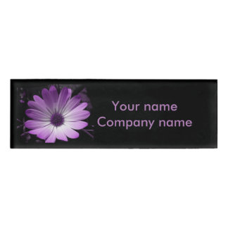 Purple Daisy Flower Personalized Name Tag