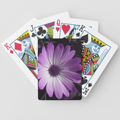 Purple Daisy Flower Playing Cards