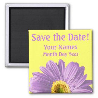 Purple Daisy Flower Save The Date Custom Fridge Magnets