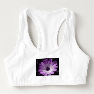 Purple Daisy Flower Sports Bra