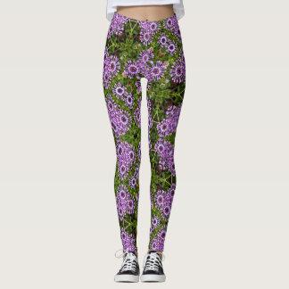 Purple Daisy Geometric Leggings