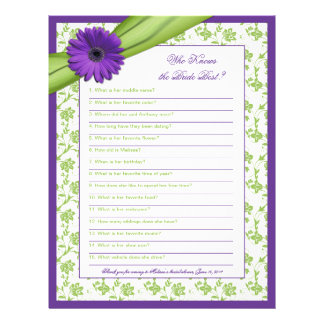 Purple Daisy Green Floral Bridal Shower Game Letterhead