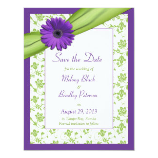 Purple Daisy Green Floral Damask Save the Date Invite