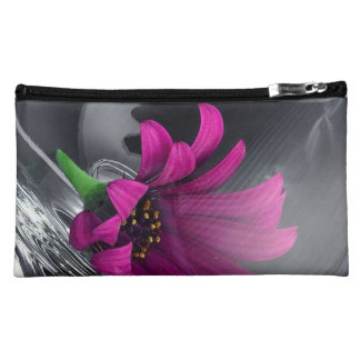Purple Daisy in Glass Makeup Bag