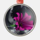 Purple Daisy in Glass Metal Ornament