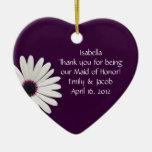 Purple Daisy Maid of Honor Personalized Ornament