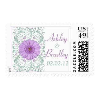Purple Daisy Mint Green Floral Wedding Postage