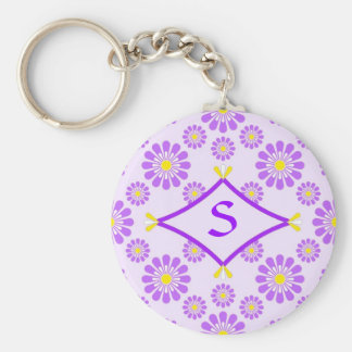 Purple Daisy Monogram Keychain