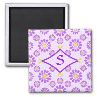Purple Daisy Monogram Magnet